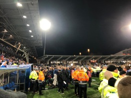The view from the pitch invasion